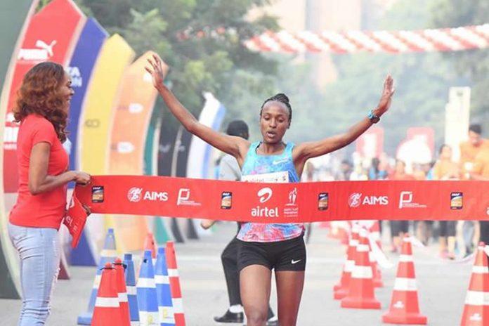 Tsehay Gemechu, de Etiopía, rompe el récord del curso en la Media Maratón de Airtel Delhi (Procam International / organizadores) © Copyright