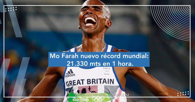 Mo Farah nuevo récord mundial: 21,330 mts en 1 hora.