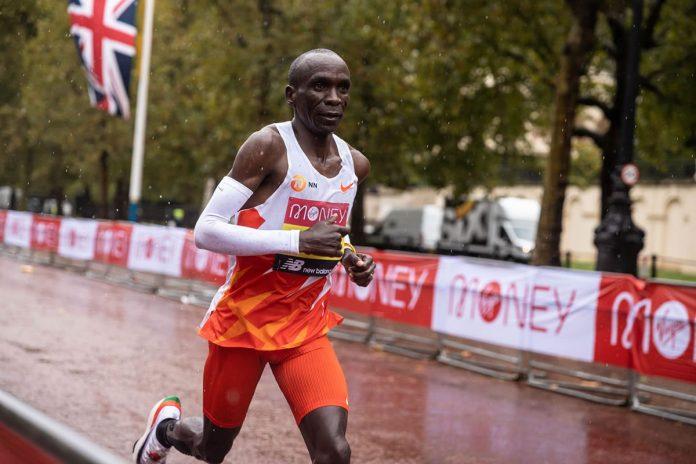 Eliud Kipchoge después del Maratón de Londres 2020