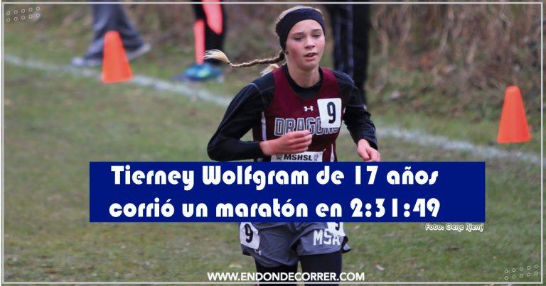 Tierney Wolfgram de 17 años corrió un maratón en 2:31:49 (3:36 x km)