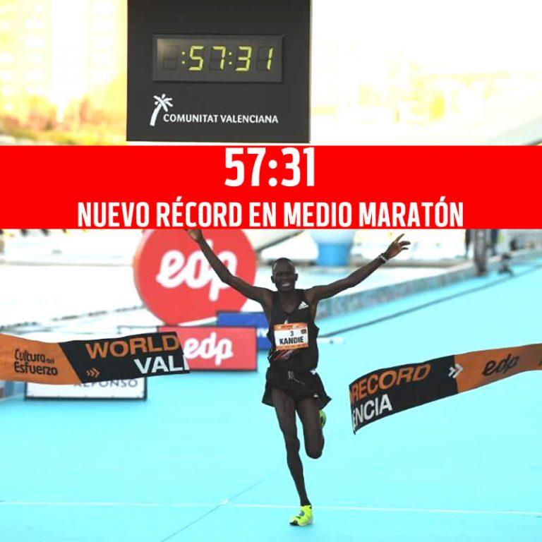 57:32 nuevo Récord mundial de medio maratón de Kibiwott Kandie