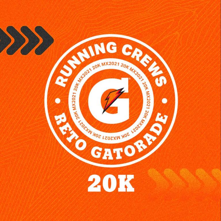 Reto Virtual Gatorade Running Crews 20k son 6 participantes para completar 120 kilómetros