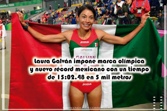 Laura Galván impone marca olímpica y nuevo récord mexicano con un tiempo de 15:02.48 en 5 mil metros